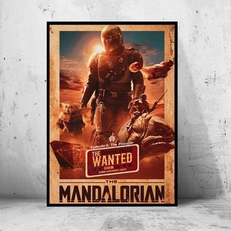 "Постер на ПВХ 3 мм. в рамке ""the Mandalorian"" (Мандалорец / Звездные Войны / Star Wars)"