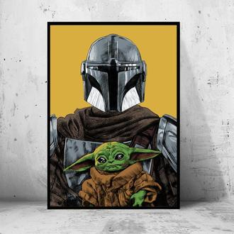 "Постер на ПВХ 3 мм. в раме ""the Mandalorian"" (Мандалорец / Звездные Войны / Star Wars)"