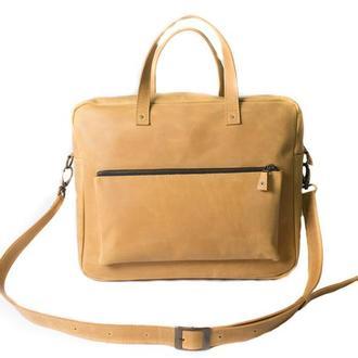 Кожаная сумка мессенджер. 07004/желтый