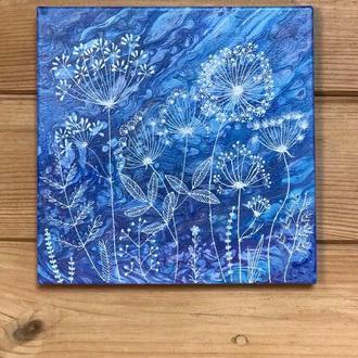 Картина панно на стену. Точечная роспись. Настенное декоративное  панно. Холст