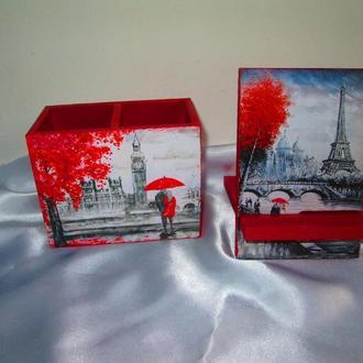 Набор ′Лондон-Париж′: карандашница (органайзер) и подставка под телефон, планшет