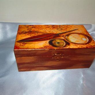 Шкатулка для хранения часов (запонок) ′В поисках приключений′, подарок для мужчин