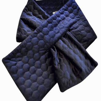 Тёплый бархатный стёганный шарф,,Нью Йорк,,