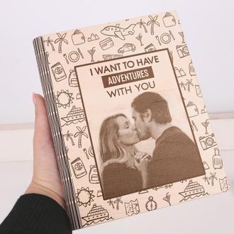 Персонализированный деревянный блокнот с гравировкой, записная книжка, скетчбук Love
