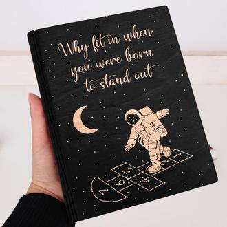 Деревянный блокнот с гравировкой, записная книжка, скетчбук космос galaxy moon