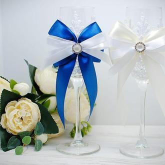 Свадебные бокалы кружево