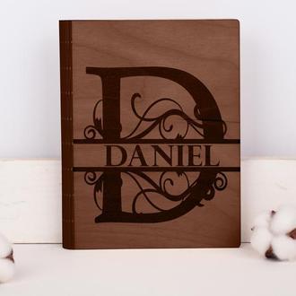 Персонализированный деревянный блокнот с гравировкой, записная книжка, скетчбук с именем