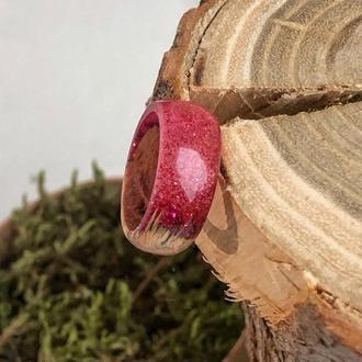 """""""Блестки"""", Деревянное кольцо из дерева и ювелирной смолы, кольцо из древесины дуба, подарок"""