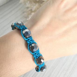 Голубой браслет Шамбала с серебристыми бусинами