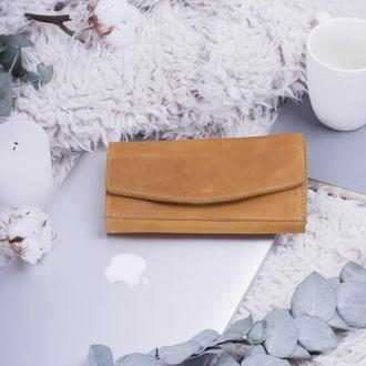 Элегантный кошелёк из натуральной кожи на кнопке желтый