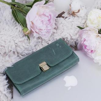 Оригинальный кошелек из натуральной кожи зеленый