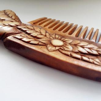 """Деревянный гребень/расческа для волос """"Весенний цветок"""""""