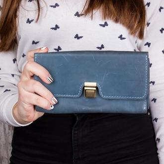 Оригинальный кошелек из натуральной кожи голубой