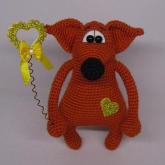 Лис Валентин вязаная игрушка лиса лисичка