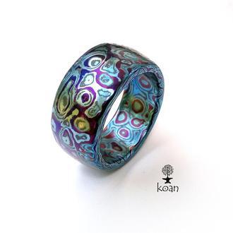 Кольцо мокуме гане титан-тантал