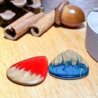 Медиатор из дерева и эпоксидной смолы, подарок для музыканта, дизайнерский медиатор