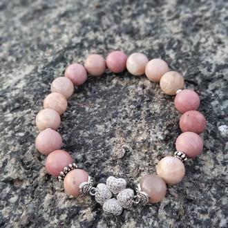 Браслет из натуральных камней, браслет из родонита, солнечного камня, браслет на подарок