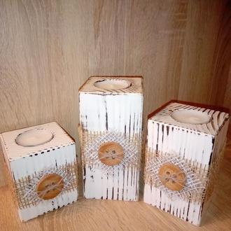 Набор деревянных подсвечники (3 шт.)