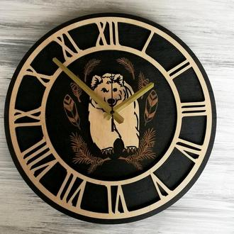"""Настенные часы из дерева """"Медведь"""""""