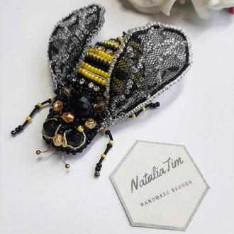 Брошь пчела. Брош пчела. Брошка пчелка. Подарок подруге, маме.