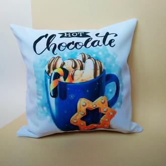 Декоративная подушка чашка кофе Киев, подушка hot chocolate, подушка авокадо, подушка бабушке