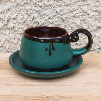 Чашка плоское с блюдцем, зеленый