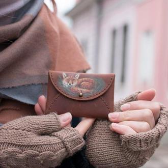 Кричневый кардхолдер чехол для карт из натуральной кожи с росписью