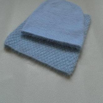 Нереальный вязаный комплект шапка бини + снуд пух норки голубого цвета