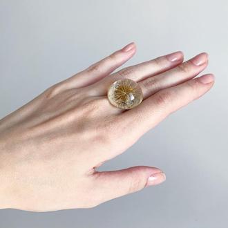 Кольцо с одуванчиком. Прозрачный перстень. Украшения с цветами  (модель № 2548) Glassy Flowers