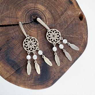 """Серьги """"Ловец снов"""" с натуральными камнями. Кошачий глаз (модель № 592) JK jewelry"""