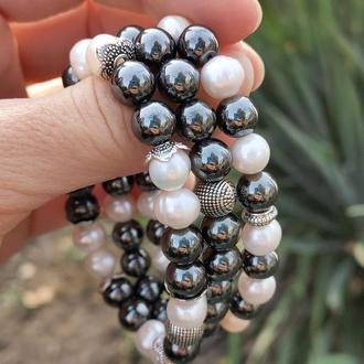 Набор браслетов из натуральных камней, браслет из жемчуга, гематита, браслет на подарок