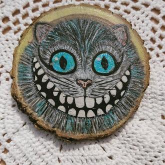Картина магніт на спилі дерева Чеширський кіт