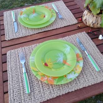 Сервировочные салфетки под тарелки Вязаные подставки под горячее