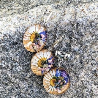 Комплект украшений с живыми цветами с дерева и ювелірноі смолы, ромашки в серьгах и кулоне