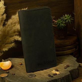 Классический универсальный вместительный кошелек портмоне из натуральной кожи мужчине женщине