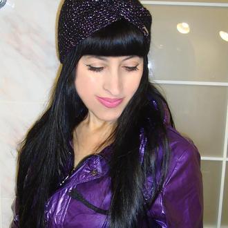 Вязаная повязка на голову чалма женская со стильным перекрутом - тренд 2020