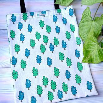 Сумка для покупок с деревьями, эко сумка, торба, сумка пакет, сумка шоппер 35
