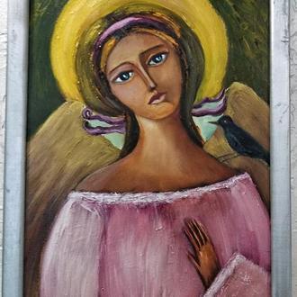 """Картина живопись маслом""""Научи меня ангел"""" 25х35см"""