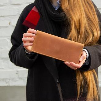 Удобный бумажник из натуральной кожи коньяк