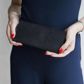 Удобный бумажник из натуральной кожи черный