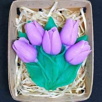 Мыло букет тюльпанов в корзине