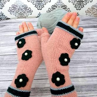 Перчатки без пальцев - Митенки спицами - Подарки для нее - Вязаные варежки - Рукавицы без пальцев