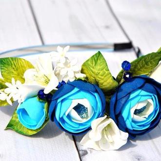 Обруч с ранункулюсами Цветочный ободок для девочки