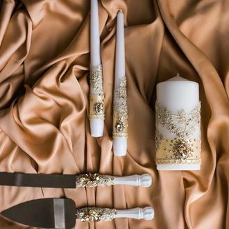 Набор свечей для свадебной церемонии Семейный очаг. Свечи на свадьбу к декором из кружева и страз