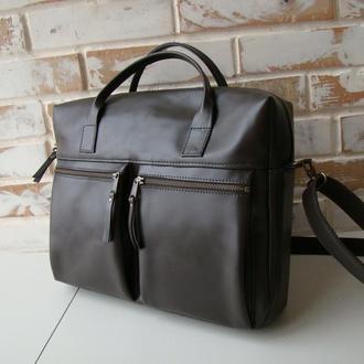 Стильная деловая мужская кожаная сумка / сумка для ноутбука