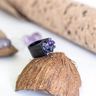 Перстень з аметистами - дерево - чорний - натуральний камінь - аметист
