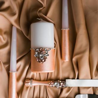 Набор свечей для свадебной церемонии Семейный очаг. Свечи на свадьбу в персиковом цвете с декором