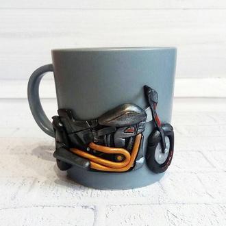 Чашка для мотоциклиста (байкера) Декор кружки полимерной глиной