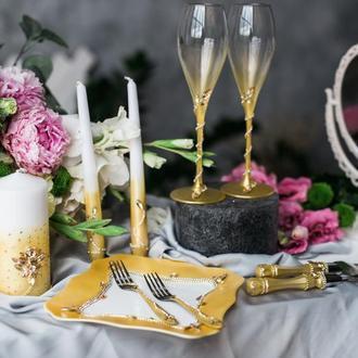 Свадебный набор Золотой туман. Бокалы, приборы для торта, набор свечей, тарелка, вилки десертные