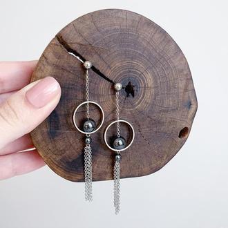 Длинные серьги в стиле геометрия с бусинами гематита. Чёрные серьги (модель № 596) JK jewelry